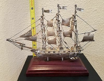 """Sterling Silver Model Ship - made in Mexico 8.5"""" X 5.5"""" inches"""