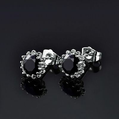 18 kt white gold Round Cut Flower Black Diamond Stud Earrings 2 CT