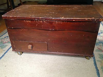 Large Antique Pine Wooden Blanket Box / Trunk / Coffee Table