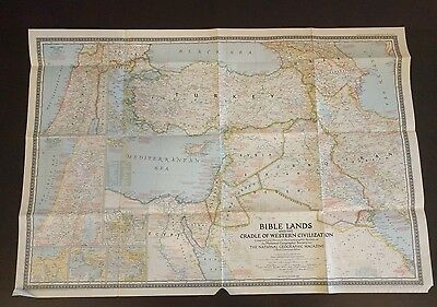 Rare Vintage 1946 Bible Lands - Middle East National Geographic Map