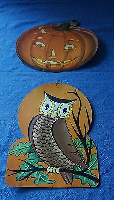 1964 Vintage halloween decorations jack o lantern and happy spooky owl lot #4