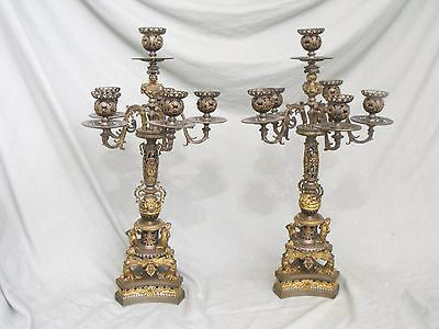 Unique Pair of Antique French Ormolu Bronze and Metal Six Light Candelabras