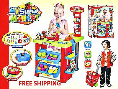 Kids Play Grocery Store Cash Register Shopping Cart Toy Food Supermarket