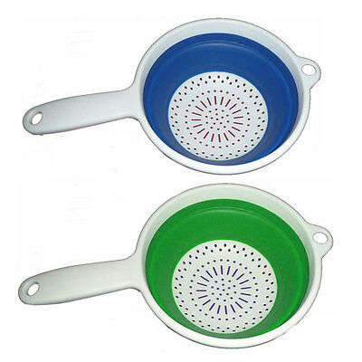 Kitchen Non Stick Collapsible Silicone Food Colander Strainer Folding Brand New