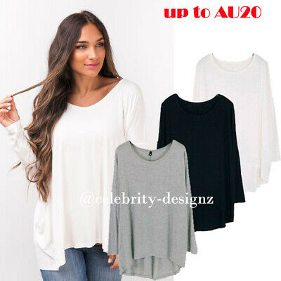 Womens PLUS SIZE T-shirt Loose Fit Batwing Sleeve Top Black Grey White 8-18 tp17