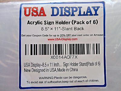 """NEW - 6 Pack - USA Display 8.5 x 11"""" Inch Slant Back Clear Acrylic Sign Holder"""