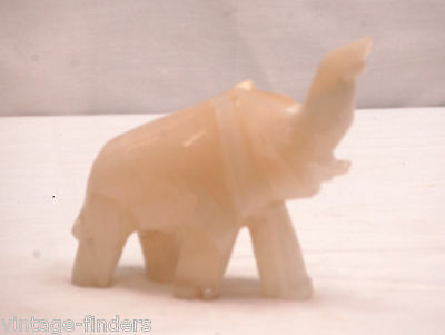 Vintage Hand Carved Natural Stone White Onyx Elephant Paperweight Figurine Decor