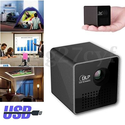 LED DLP HD 1080P Portable Mini Projector Home Theater TF Multimedia Player AU