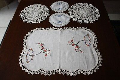 5 Vintage Cream & White Linen Embroidered Crocheted Doilies #172