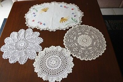 4 Vintage Cream & White Linen Embroidered Crocheted Doilies #173