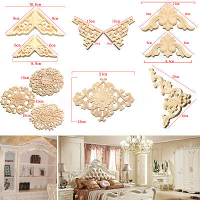 Lots Wood Carved Long Onlay Applique Unpainted Flower Walls Cabinets Door Decor