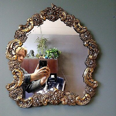 Antique 1800s Sterling SILVER Ruby TURQUOISE Garnet AUSTRO HUNGARIAN Lrg MIRROR