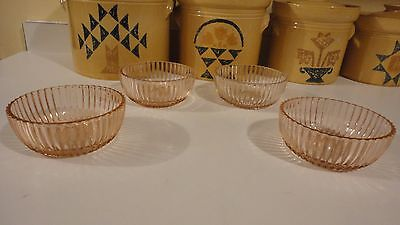 Anchor Hocking Queen Mary 4 Dessert/Berry Bowl - Pink Ribbed Depression Glass