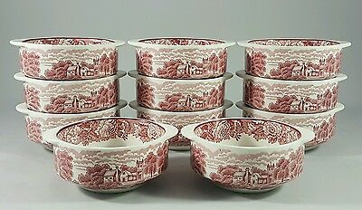 11 RARE Dessert Soup BOWLS & SAUCERS Enoch Woods Ware Pink Red English Scenery