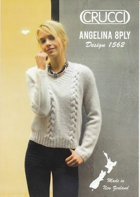 Crucci Knitting Pattern 1562, Cabled Sweater, Designed for 8 Ply Wool