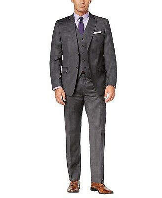Ralph Lauren Men's Charcoal Pinstripe Wool Vested Slim Fit 3 Piece Suit Grey