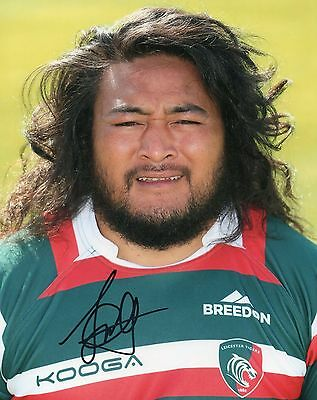 """Logovi'i Mulipola Hand Signed Leicester Tigers 10"""" x 8"""" Rugby Union Photo."""