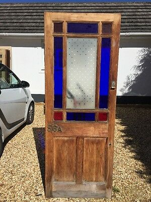 Victorian Stained Glass Etched  Front Door Period Old Reclaimed Antique Wood.