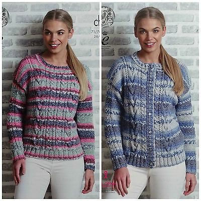 KNITTING PATTERN Ladies Round Neck Cable Jumper & Cardigan Drifter Chunky 4851