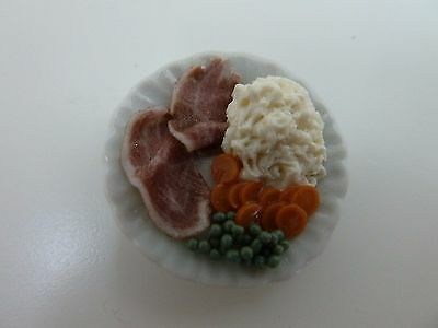 Dolls House Miniature 1.12 Scale Handcrafted Kitchen Food Plate of Food