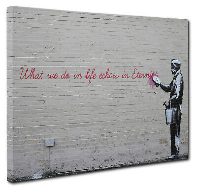 """Banksy """"Life Echoes In Eternity"""" Canvas Print Wall Street Art Picture Size A1"""