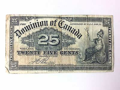 1900 Dominion of Canada Twenty Five 25 Cents Shinplaster Bank Note A738