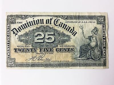 1900 Dominion of Canada Twenty Five 25 Cents Shinplaster Bank Note A739