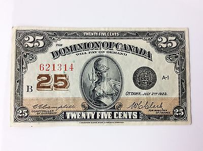 1923 Dominion of Canada Twenty Five 25 Cents Shinplaster B Series Bank Note A740