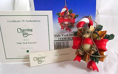 Charming Tails Ornament Yule Tied Sweetie  Yuletide Christmas