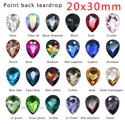 6p 20x30mm color Pointed foiled back crystal rhinestone Glass Teardrop Big stone