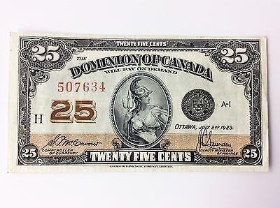 1923 Dominion of Canada Twenty Five 25 Cents Shinplaster H Series Bank Note A742