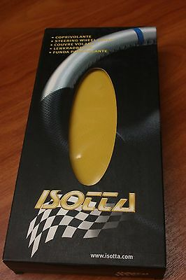 Couvre Volant en Cuir JAUNE & NOIR pour PEUGEOT 206 . ISOTTA Made in ITALY .NEUF