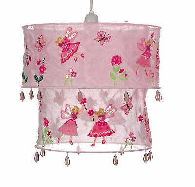 Pink Fairy Lampshade Ceiling Light Shade Fabric Butterfly Flower Girls Bedroom