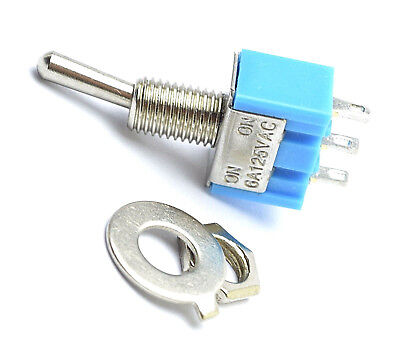 Miniature Toggle Switch 3-Pin SPDT ON-ON 6A 125VAC Blue Mini. 0166