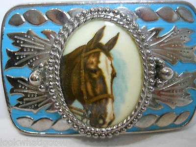 Enameled Horse head Belt Buckle Painted Porcelain Medallion