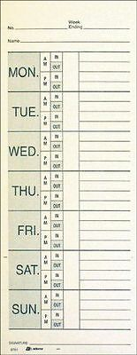 "Adams Time Cards, Weekly, 2-Sided, Overtime Format, Named Days, 3-3/8"" x 9"", New"