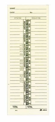 "Adams Time Cards, Weekly, 1-Sided, Named Days, 3-3/8"" x 9"", Manila, Green # 9659"