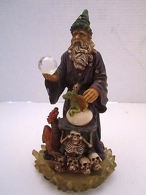 "Wizard with dragons, skulls, crystal ball. Resin. 7"" tall. Fantasy. EDC."