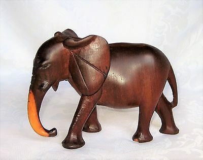 "Hand Carved Wood ELEPHANT Sculpture Statue Figurine 5"" x 7"""
