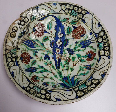 16C Antique Turkish Iznik Ottoman Islamic Kashan Kutahya Plate