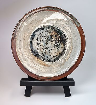 """Paul Soldner Signed Circa 1950s Ceramic Girl Plate Platter Charger Dish 12.25"""""""