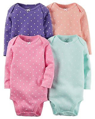 Carters Infant Girls'`4-Pack Long-Sleeve Bodysuits - Pastel with Polka Dots NWT