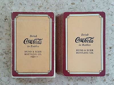 1930s Coca-Cola Playing Cards Tan/Maroon Pinochle Hund & Eger Bottler!!