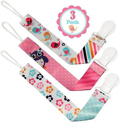 Pacifier Clip Girls by Liname - 3 Pack - Premium Quality Universal Pacifier Clip
