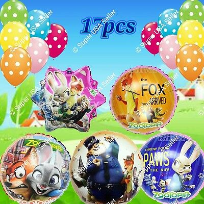 ZOOTOPIA BALLOONS Zoo Animals Disney Decor Shower Birthday Party Supplies Lot G