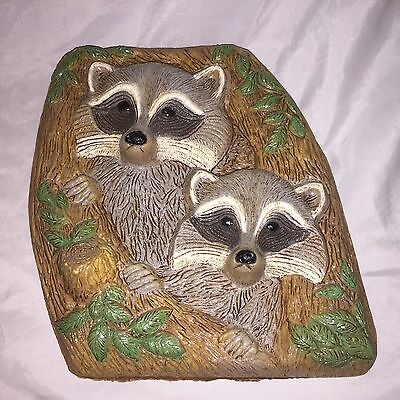Rare Vintage 1986 Frankies Designs Raccoons light weight Wall Art Hanging