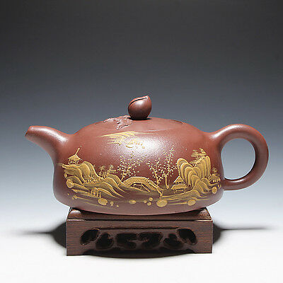 5000friend-Exquisite Chinese Yixing Zisha Pottery Old Painted Peach Teapot