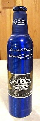 2007 Bud Light NBA San Antonio Spurs Champions Aluminum Bottle Beer Can #501183