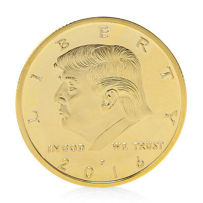 President Donald Trump In God We Trust Golden Commemorative Coin Token Gift Hot