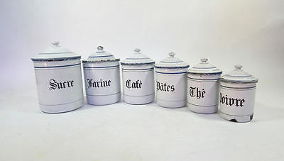 6 French Vintage Enamelware Canisters with Lids Blue and White